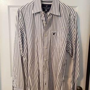 American Eagle striped Large collared shirt